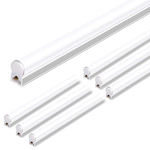 Hykolity 6 Pack Integrated LED T5 Single Fixture, 4FT, 22W, 2200lm, 5000K, Linkable Utility Shop Light Ceiling Tube Light, Corded Electric with Built-in ON/Off Switch