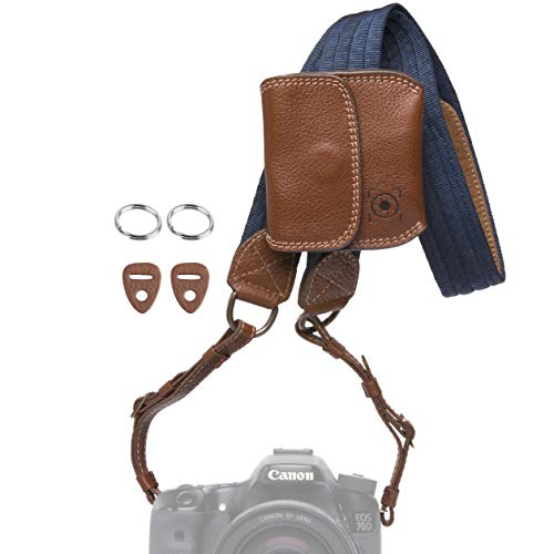 Leather Camera Neck Strap - Inspire In Time Universal Camera Neck Strap | Durable Genuine Leather | Adjustable Straps | for Canon, Sony, Olympus, Nikon, Leica, Panasonic, Fuji; DSLR, Mirrorless | Removable Lens Cap Holder