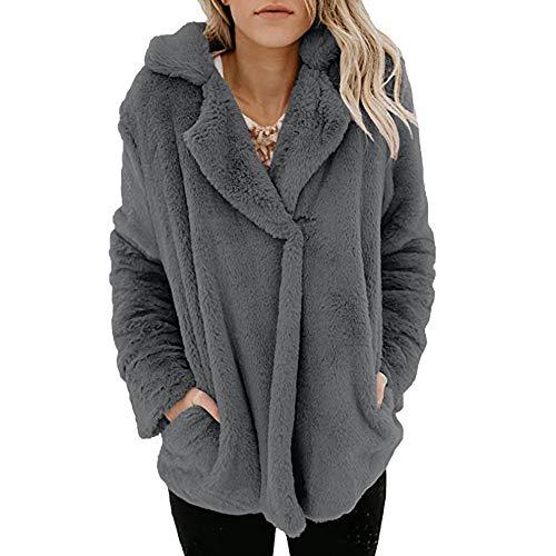 (Oasisocean Women's Fuzzy Fleece Lapel Open Front Long Cardigan Coat Faux Fur Warm Winter Outwear)
