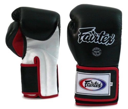 Fairtex Boxing gloves BGV5 - Super Sparring Gloves, Black/White Color. Size: 12 14 16 oz. Sparring gloves for Kick Boxing, Muay Thai, MMA (Black/White, 14 oz)