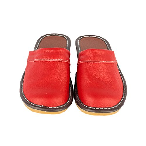 Haisum Tb008-w - Zapatillas de estar por casa de Piel Sintética para mujer Red