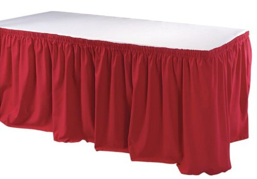 Phoenix 17-1/2-Feet Table Skirting, Shirred, Red ()