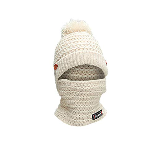 - LEXUPA Adult Women Men Winter Earmuffs Knit Hat Scarf Hairball Warm Cap(One Size,White)