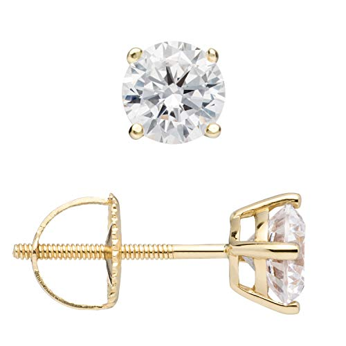 14K Solid Yellow Gold Stud Earrings | Round Cut Cubic Zirconia | Screw Back Posts | 1.0 CTW | With Gift ()