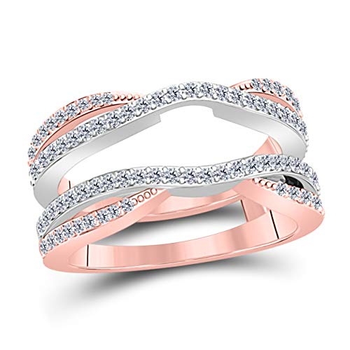 0.50 Ctw 14K White & Rose Gold Two-Tone Plated Sterling Silver Round Cut White CZ Diamond Ladies Anniversary Wedding Band Enhancer Guard Double Chevron Ring