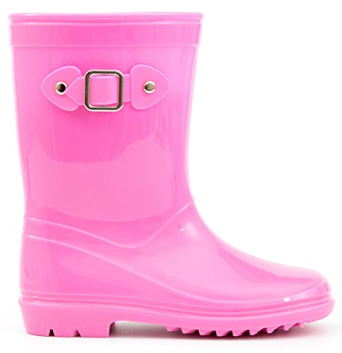 MOFEVER Toddler Girls Kids Rain Boots Waterproof Shoes Lightweight Solid Cute Lovely Funny with Buckle Classic Comfortable (Size ()