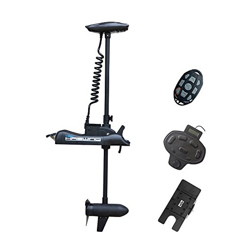 Aquos Haswing 12v 55lbs Bow Mount Electric Trolling Motor Bow Mount Motor with Foot Control with Quick Release Bracket/ Quick Mounted Plate ... (black)