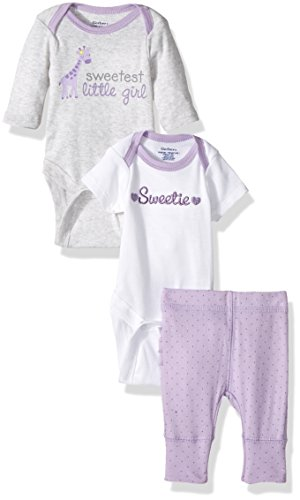 Gerber Baby 3 Piece Long and Short Sleeve Onesies With Pant, sweetie, 0-3 Months