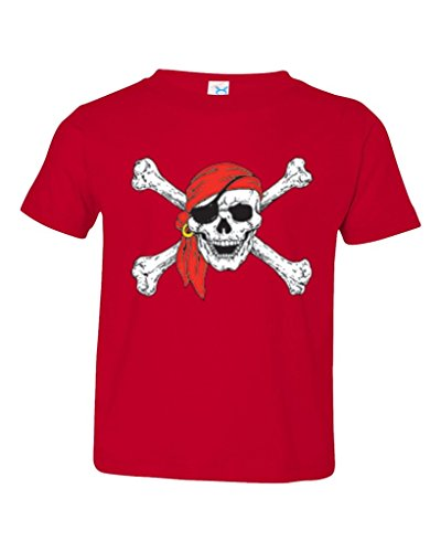 P&B Pirate Skull Red Bandanna Toddler T-Shirt, 4T, Red]()