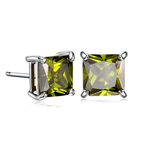 GULICX 7mm Square Cubic Zirconia Green Stud Pierced Earrings White Gold Tone Peridot Color - Green Stud Earring Box