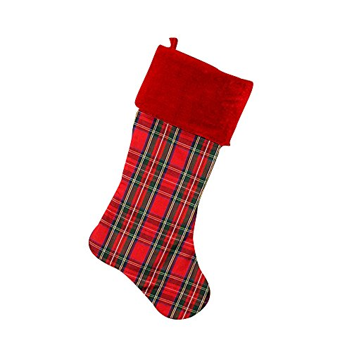 GiftsForYouNow Red Plaid Christmas Stocking, 21