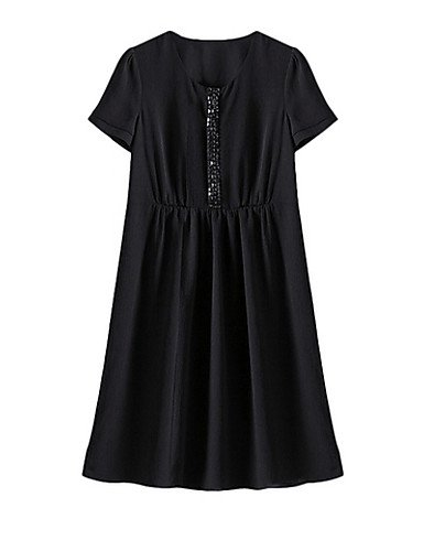 PU&PU Robe Aux femmes Gaine Simple,Couleur Pleine Col Arrondi Au dessus du genou Polyester , black-16 , black-16