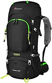 Mountaintop 50/60L Hiking Internal Frame Backpack with Rain Cover