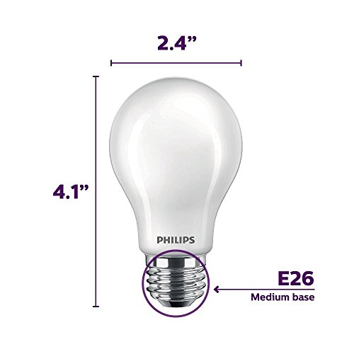 Philips LED Flicker-Free Frosted Dimmable A19 Light Bulb, EyeComfort Technology, 450 Lumen, Daylight (5000K), 5W=40W, E26 Base, Title 20 Certified, 8-Pack