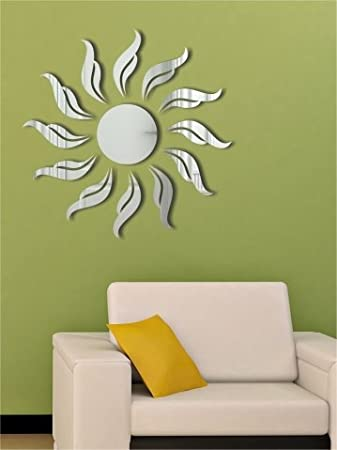 Wall1ders   SUN FLAME SILVER (Pack Of 13) 3D Mirror 3D Acrylic Wall Sticker Part 22