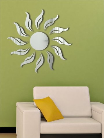 [Wall1ders offering Free 10 3D Mirror Butterflies with every order] - SUN  FLAME SILVER