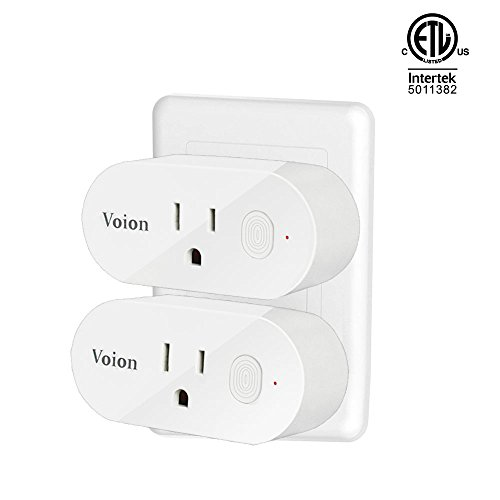 Alexa Smart Wifi Plug Mini - Voion Wifi Socket Outlet (2 Pack) with Energy Monitoring, Compatible with Alexa, Google Assistant and IFTTT, Control Your Lights, Appliances From Your Phone by Voion