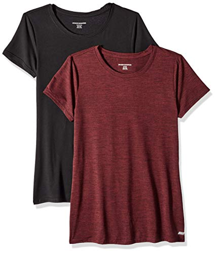 Dye Tee Womens - Amazon Essentials Women's 2-Pack Tech Stretch Short-Sleeve Crewneck T-Shirt, -burgundy space dye/black, Large