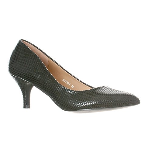 Riverberry Pointed Katy Snake Black Toe Pumps Classic Womens 77g4wrO