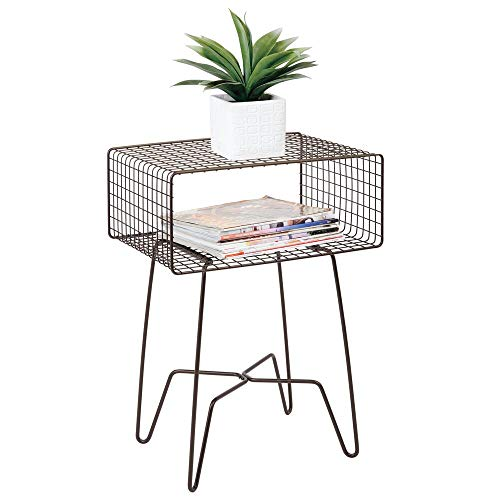 - mDesign Modern Farmhouse Side/End Table - Metal Grid Design - Open Storage Shelf Basket, Hairpin Legs - Sturdy Vintage, Rustic, Industrial Home Decor Accent Furniture for Living Room, Bedroom - Bronze
