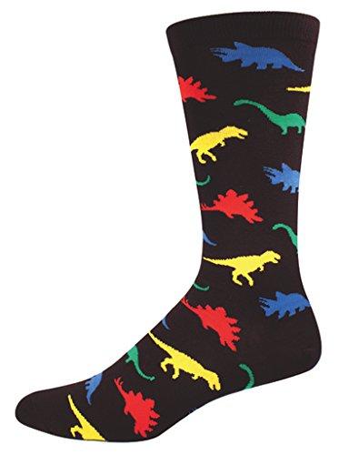 Socksmith Men's Socks Dinosaur Crew Black 1pair One Size men's shoe size 6-12.5 US Black ()
