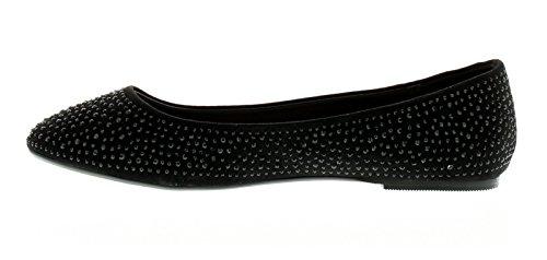 NUEVO MUJER NEGRO Bailarina Estilo Zapatos Con Gemas - Negro - GB Tallas 3-8