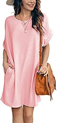 IWOLLENCE Women Waffle Knit Tunic Dress Casual Summer Short Sleeve Loose Dresses Cover Up Beach Dresses with P