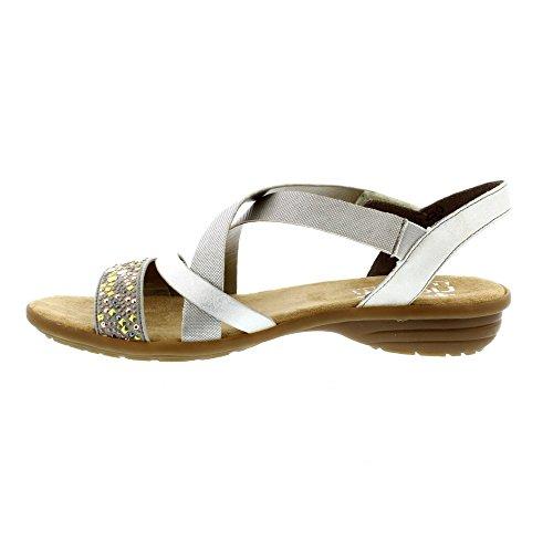 Rieker Womens Flat Sandalo Strappy (v3463-60) Grigio