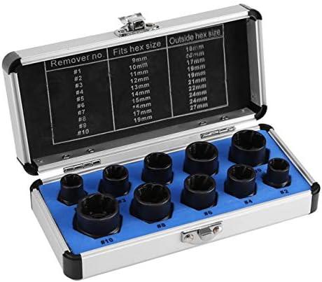ボルトと水パイプ抽出器セットハイグレードの10個の壊れたナットボルト抽出器ソケット六角ナット取り外しツール-シルバー