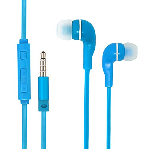 For Android Cell Phone 3.5mm Blue Color Audio Earphone Headp