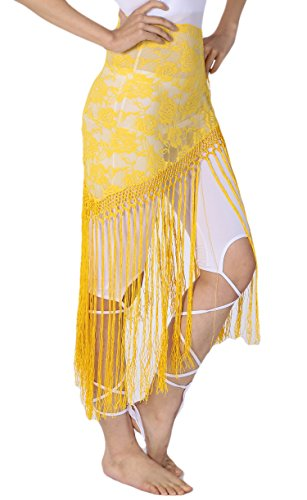 Fringe Triangle Halloween Costume Lace Shawl Tribal Hip Scarves without Coins -