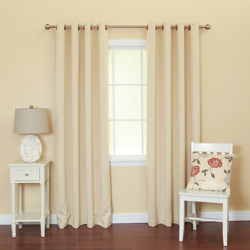 "Best Home Fashion Basic Thermal Insulated Blackout Curtains - Antique Bronze Grommet Top - Beige - 52""W x 84""L - (1 Panel)"