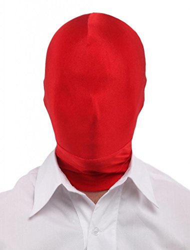 - Seeksmile Unisex Lycra Spandex Full Cover Zentai Hood Mask (Adult Size, Red)