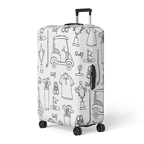 Pinbeam Luggage Cover Symbols of Golf on White Color Pattern Hobby Travel Suitcase Cover Protector Baggage Case Fits 18-22 inches
