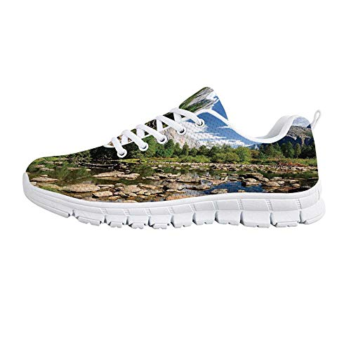 (YOLIYANA Yosemite Jogging Running Shoes,Fluffy Clouds Forest Stones River Yosemite National Park California USA Waterscape Sneakers for Girls Womens,US Size 7.5)