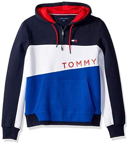 - Tommy Hilfiger Men's Adaptive Hoodie Sweatshirt with Extended Zipper Pull, Navy Blazer/Multi, X Large