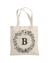 Cute Initial B Floral Gift: Liberty Bags Canvas Bargain Tote Bag