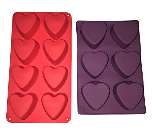 - 2 Silicone Heart Soap Molds -Valentines Day Holiday Hearts Shaped - Homemade Soaps Cake Bath Bombs - DIY Baked Party Gifts Supplies - Random Colors Baking Bundle by Jolly Jon
