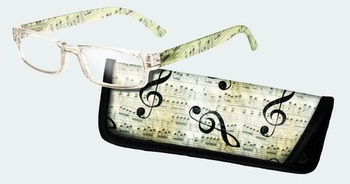 Eye Style Reading Glasses with Matching Eyeglass Case - Choose from +1.50, +2.00, +2.50, +3.00 (+3.00, Music)