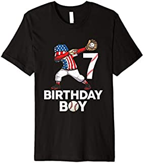7Years Old 7th Birthday Boy Baseball Dabbing  Gift Premium T-shirt | Size S - 5XL