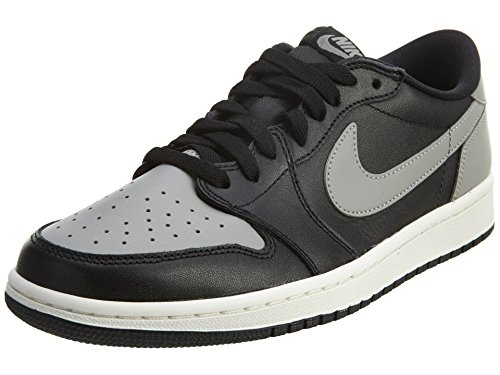 Nike Mens Air Jordan 1 Retro Low OG Black/Medium Grey/Sail Basketball Shoe 7.5 Men - Air Jordans Max