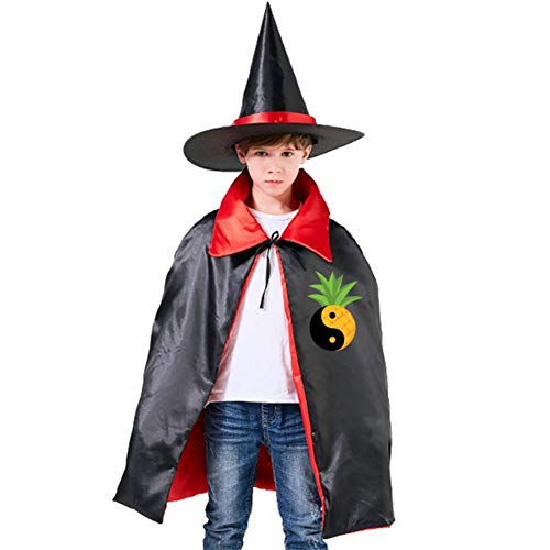 Presenting Yin & Yang Pineapple Kids Cape Halloween Costumes Reversible Cloak with Wizard Hat Red -