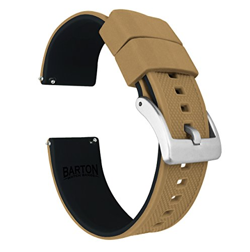 Barton Elite Silicone Watch Bands - Quick Release - Choose Strap Color & Width - Khaki Tan/Black 20mm