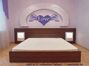 Wandtattoo fürs Schlafzimmer Herz mit Schrift Love, Liebe Herzen mit ...