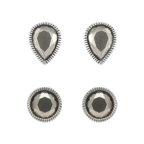 Aura 925 Sterling Silver Marcasite Earring Round and Pear Shape (2 Pairs) - Free Shipping