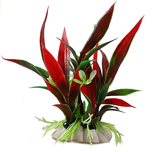 Potelin Artificial Water Grass Fake Underwater Plant Plastic Water Grass Aquarium Landscape for Fish Tank Decoration Fish Hiding Use 1Pcs(Red)