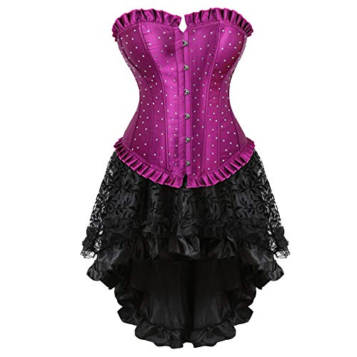 frawirshau Corset Dress Women's Rhinestone Overbust Corsets Skirt Set Halloween Costume Burlesque Dancing Dress Purple -