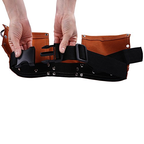 Fellibay Double Tool Belt Nail Tool Pouch Builders Bag Belt Storage Hammer Holder Waist Bag with 5 Pockets for Kids Children (Brown) by Fellibay (Image #5)