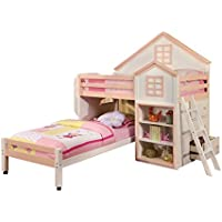 HOMES: Inside + Out IDF-BK131PW ioHOMES Houser Loft Bed, White/Pink, Twin
