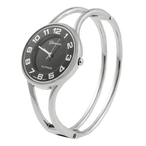 Geneva Platinum Womens Watch - Geneva Platinum Polished Bangle Women's Watch